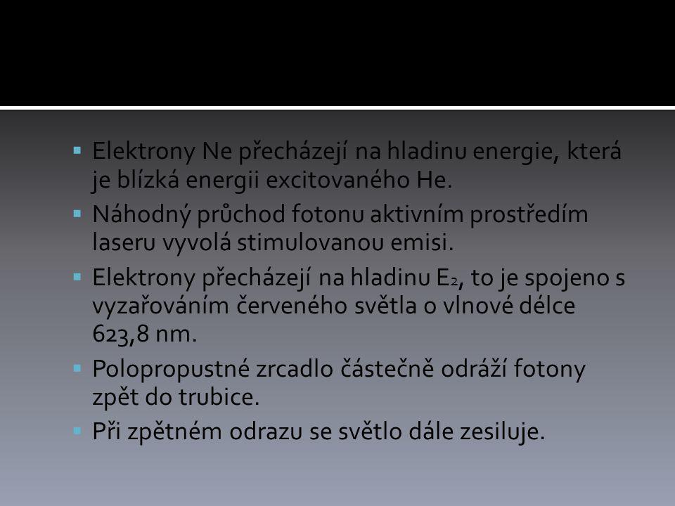  Elektrony Ne přecházejí na hladinu energie, která je blízká energii excitovaného He.