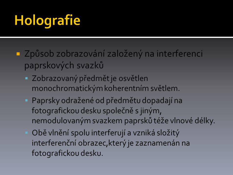  Způsob zobrazování založený na interferenci paprskových svazků  Zobrazovaný předmět je osvětlen monochromatickým koherentním světlem.