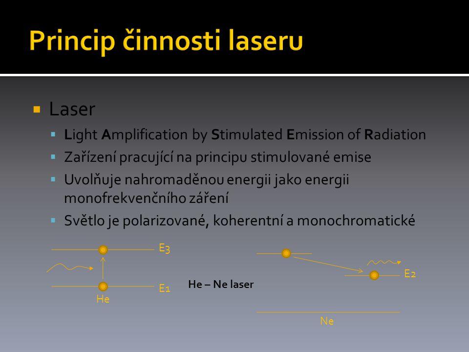  Laser  Light Amplification by Stimulated Emission of Radiation  Zařízení pracující na principu stimulované emise  Uvolňuje nahromaděnou energii jako energii monofrekvenčního záření  Světlo je polarizované, koherentní a monochromatické E1 E3 He E2 Ne He – Ne laser