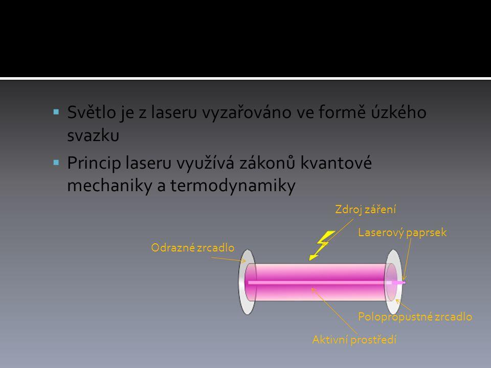  Světlo je z laseru vyzařováno ve formě úzkého svazku  Princip laseru využívá zákonů kvantové mechaniky a termodynamiky Aktivní prostředí Zdroj záření Odrazné zrcadlo Polopropustné zrcadlo Laserový paprsek