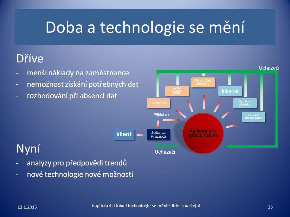Doba a technologie se mění Dříve -menší náklady na zaměstnance -nemožnost získání potřebných dat -rozhodování při absenci dat Nyní -analýzy pro předpo