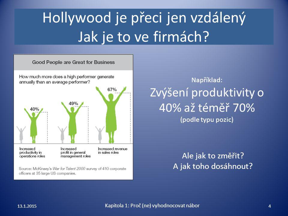 Hollywood je přeci jen vzdálený Jak je to ve firmách? Ale jak to změřit? A jak toho dosáhnout? 13.1.20154 Například: Zvýšení produktivity o 40% až tém