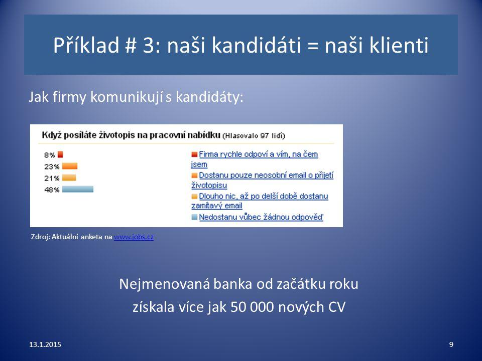 Příklad # 3: naši kandidáti = naši klienti Jak firmy komunikují s kandidáty: 13.1.20159 Nejmenovaná banka od začátku roku získala více jak 50 000 nový