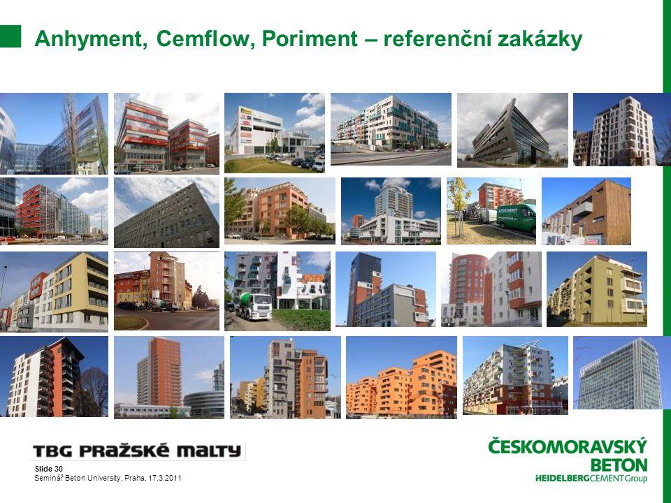 Slide 30 Seminář Beton University, Praha, 17.3.2011 Anhyment, Cemflow, Poriment – referenční zakázky