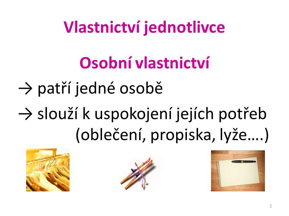 Vlastnictví jednotlivce Osobní vlastnictví → patří jedné osobě → slouží k uspokojení jejích potřeb (oblečení, propiska, lyže….) 3