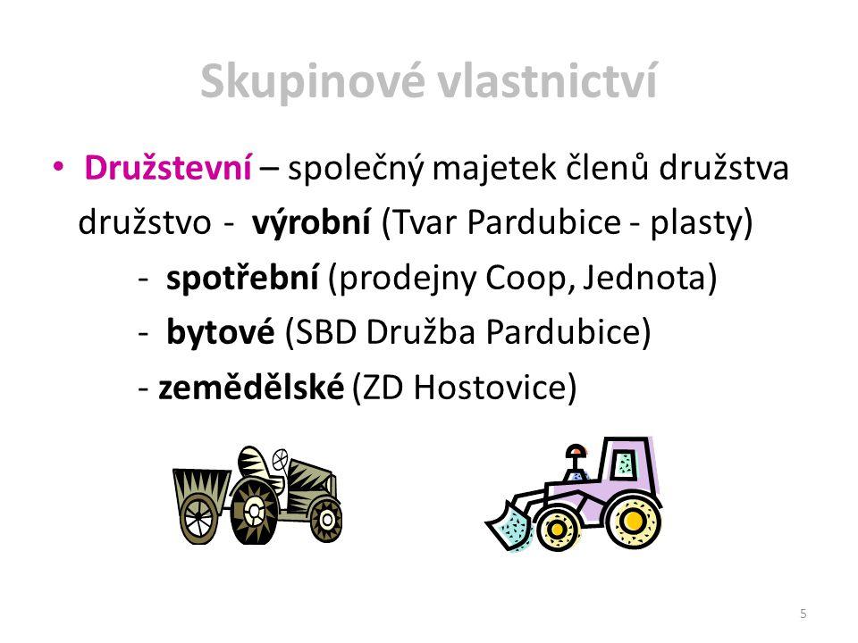 Skupinové vlastnictví Družstevní – společný majetek členů družstva družstvo- výrobní (Tvar Pardubice - plasty) - spotřební (prodejny Coop, Jednota) -