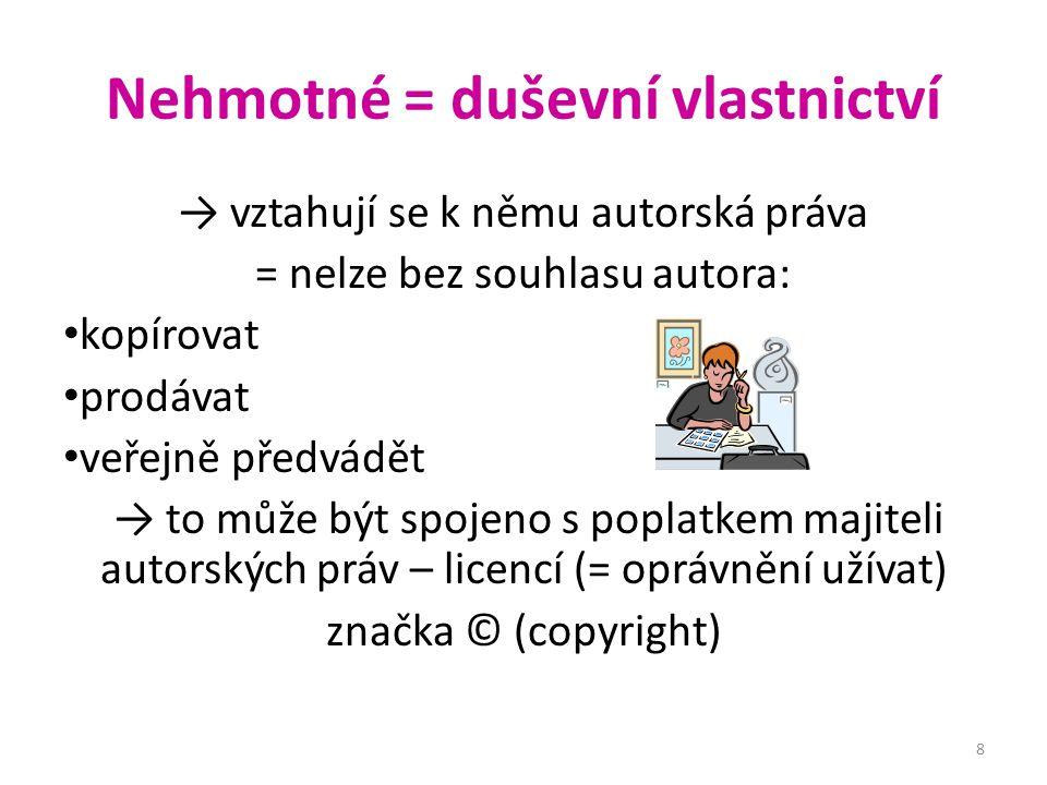 Nehmotné = duševní vlastnictví → vztahují se k němu autorská práva = nelze bez souhlasu autora: kopírovat prodávat veřejně předvádět → to může být spo