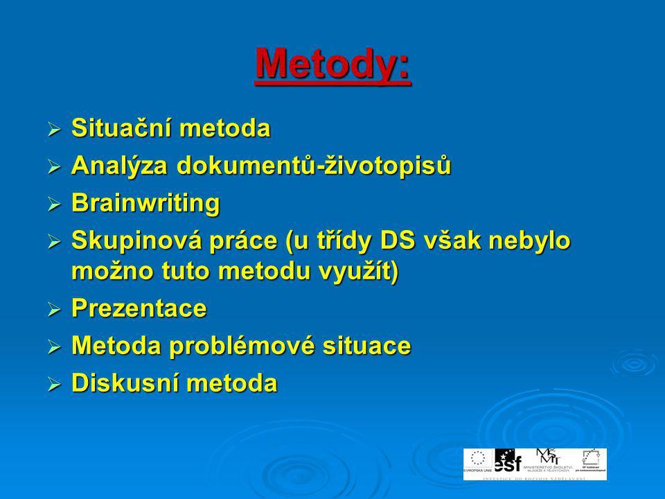 Metody:  Situační metoda  Analýza dokumentů-životopisů  Brainwriting  Skupinová práce (u třídy DS však nebylo možno tuto metodu využít)  Prezenta