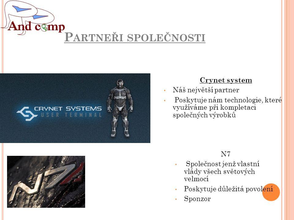 P ARTNEŘI SPOLEČNOSTI Crynet system Náš největší partner Poskytuje nám technologie, které využíváme při kompletaci společných výrobků N7 Společnost jenž vlastní vlády všech světových velmocí Poskytuje důležitá povolení Sponzor