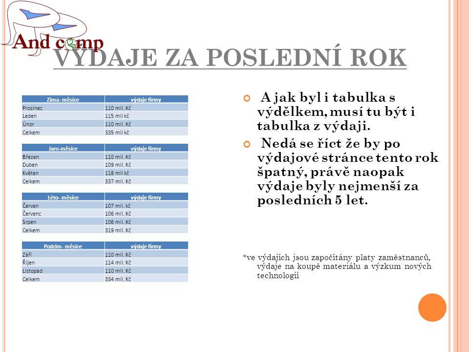 VÝDAJE ZA POSLEDNÍ ROK Zima- měsícevýdaje firmy Prosinec110 mil.