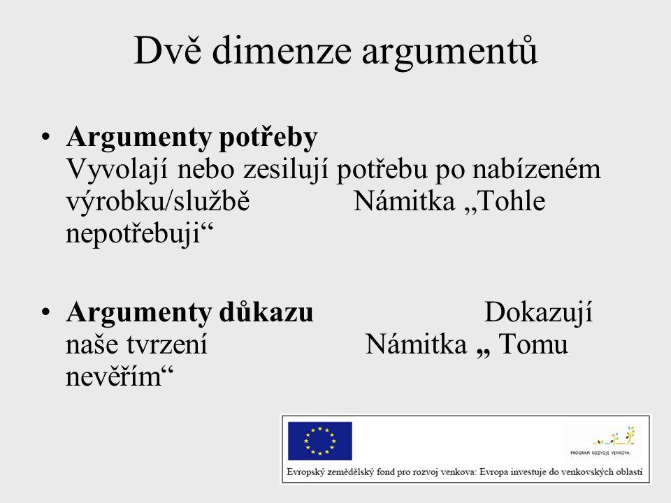 """Dvě dimenze argumentů Argumenty potřeby Vyvolají nebo zesilují potřebu po nabízeném výrobku/službě Námitka """"Tohle nepotřebuji Argumenty důkazu Dokazují naše tvrzení Námitka """" Tomu nevěřím"""