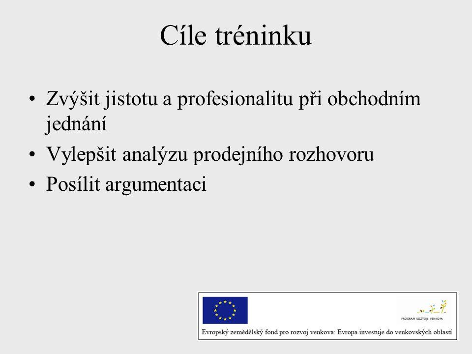 Cíle tréninku Zvýšit jistotu a profesionalitu při obchodním jednání Vylepšit analýzu prodejního rozhovoru Posílit argumentaci