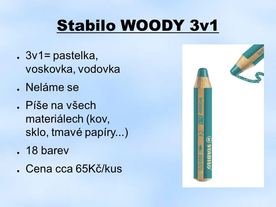 Stabilo WOODY 3v1 ● 3v1= pastelka, voskovka, vodovka ● Neláme se ● Píše na všech materiálech (kov, sklo, tmavé papíry...) ● 18 barev ● Cena cca 65Kč/k