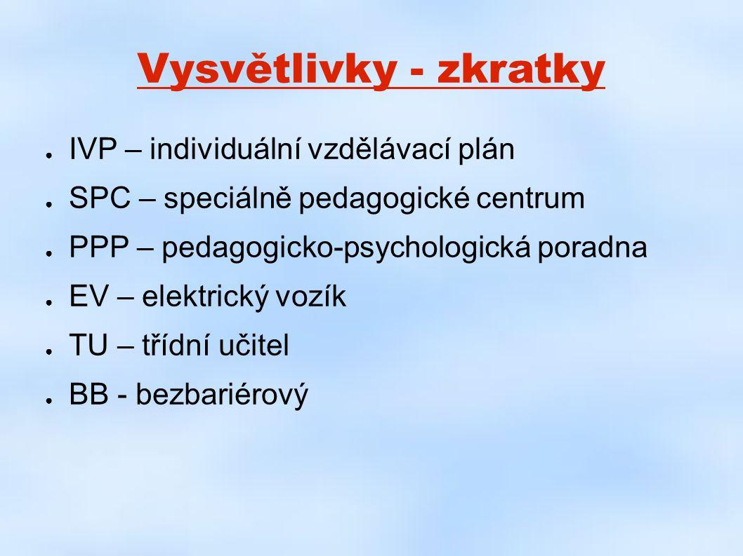 Vysvětlivky - zkratky ● IVP – individuální vzdělávací plán ● SPC – speciálně pedagogické centrum ● PPP – pedagogicko-psychologická poradna ● EV – elek