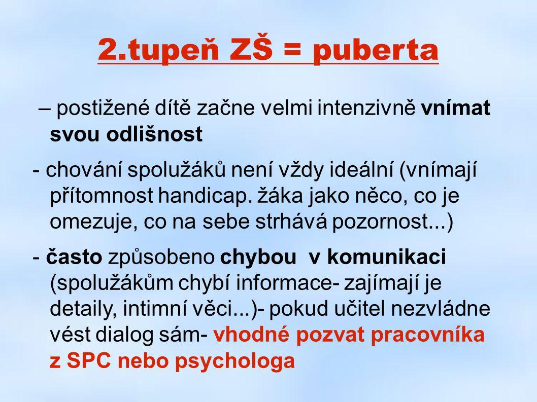 2.tupeň ZŠ = puberta – postižené dítě začne velmi intenzivně vnímat svou odlišnost - chování spolužáků není vždy ideální (vnímají přítomnost handicap.