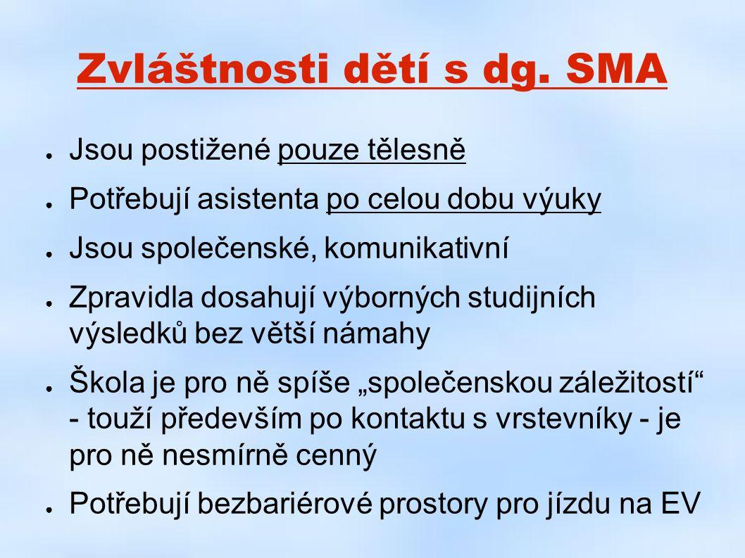 Zvláštnosti dětí s dg. SMA ● Jsou postižené pouze tělesně ● Potřebují asistenta po celou dobu výuky ● Jsou společenské, komunikativní ● Zpravidla dosa