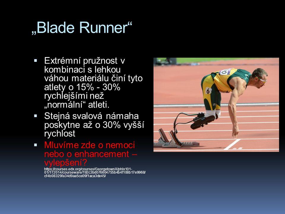 """""""Blade Runner""""  Extrémní pružnost v kombinaci s lehkou váhou materiálu činí tyto atlety o 15% - 30% rychlejšími než """"normální"""" atleti.  Stejná svalo"""