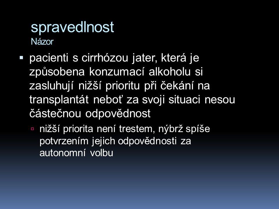 spravedlnost Názor  pacienti s cirrhózou jater, která je způsobena konzumací alkoholu si zasluhují nižší prioritu při čekání na transplantát neboť za