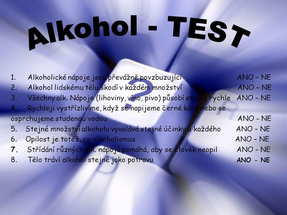 1.Alkoholické nápoje jsou převážně povzbuzující ANO – NE 2.Alkohol lidskému tělu škodí v každém množství ANO – NE 3.Všechny alk. Nápoje (lihoviny, vín