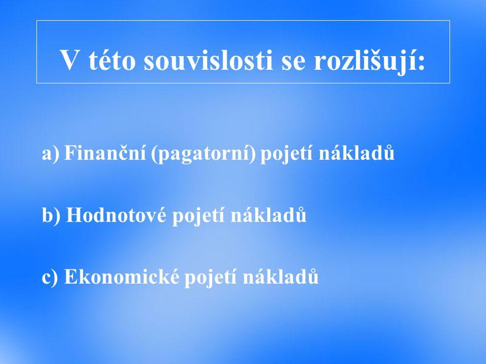 V této souvislosti se rozlišují: a)Finanční (pagatorní) pojetí nákladů b) Hodnotové pojetí nákladů c) Ekonomické pojetí nákladů
