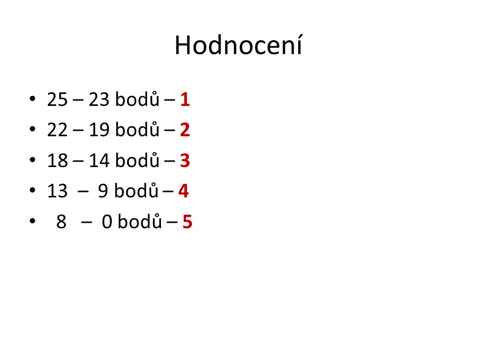 Hodnocení 25 – 23 bodů – 1 22 – 19 bodů – 2 18 – 14 bodů – 3 13 – 9 bodů – 4 8 – 0 bodů – 5