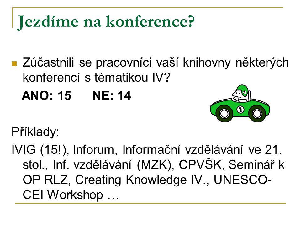 Jezdíme na konference. Zúčastnili se pracovníci vaší knihovny některých konferencí s tématikou IV.