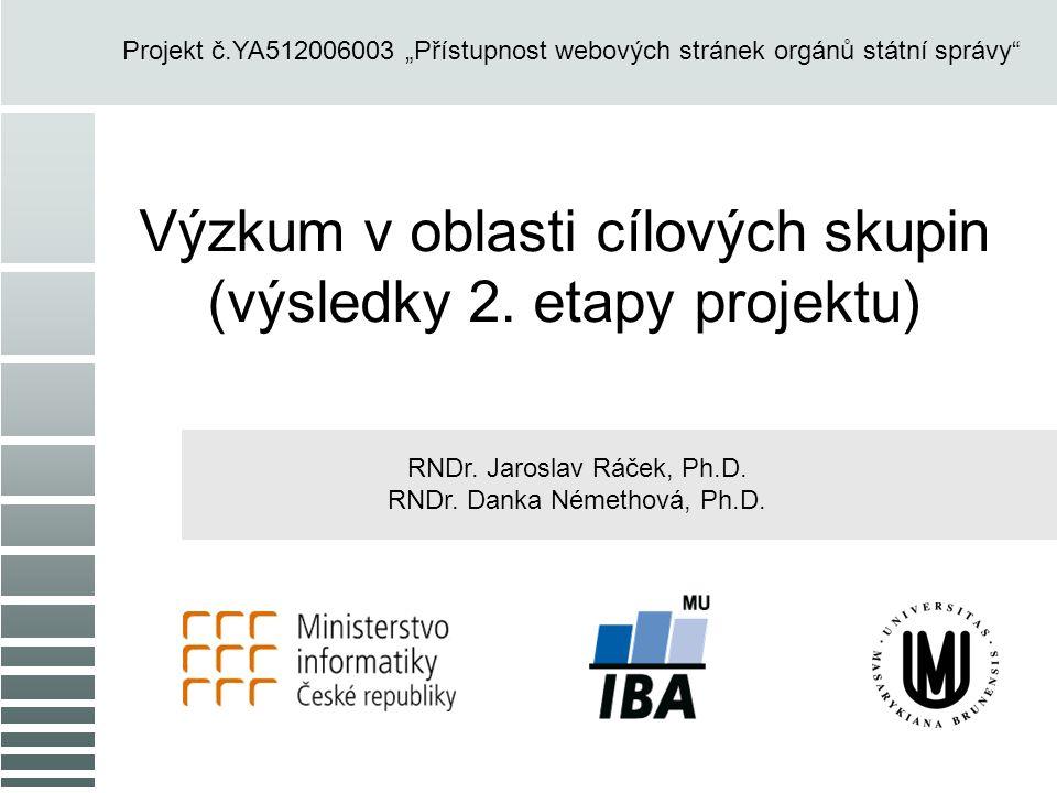 """Výzkum v oblasti cílových skupin (výsledky 2. etapy projektu) RNDr. Jaroslav Ráček, Ph.D. RNDr. Danka Némethová, Ph.D. Projekt č.YA512006003 """"Přístupn"""