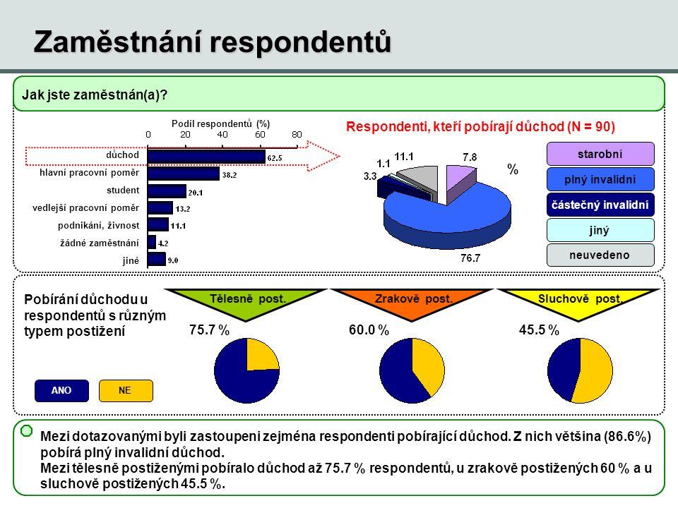 Zaměstnání respondentů Mezi dotazovanými byli zastoupeni zejména respondenti pobírající důchod. Z nich většina (86.6%) pobírá plný invalidní důchod. M