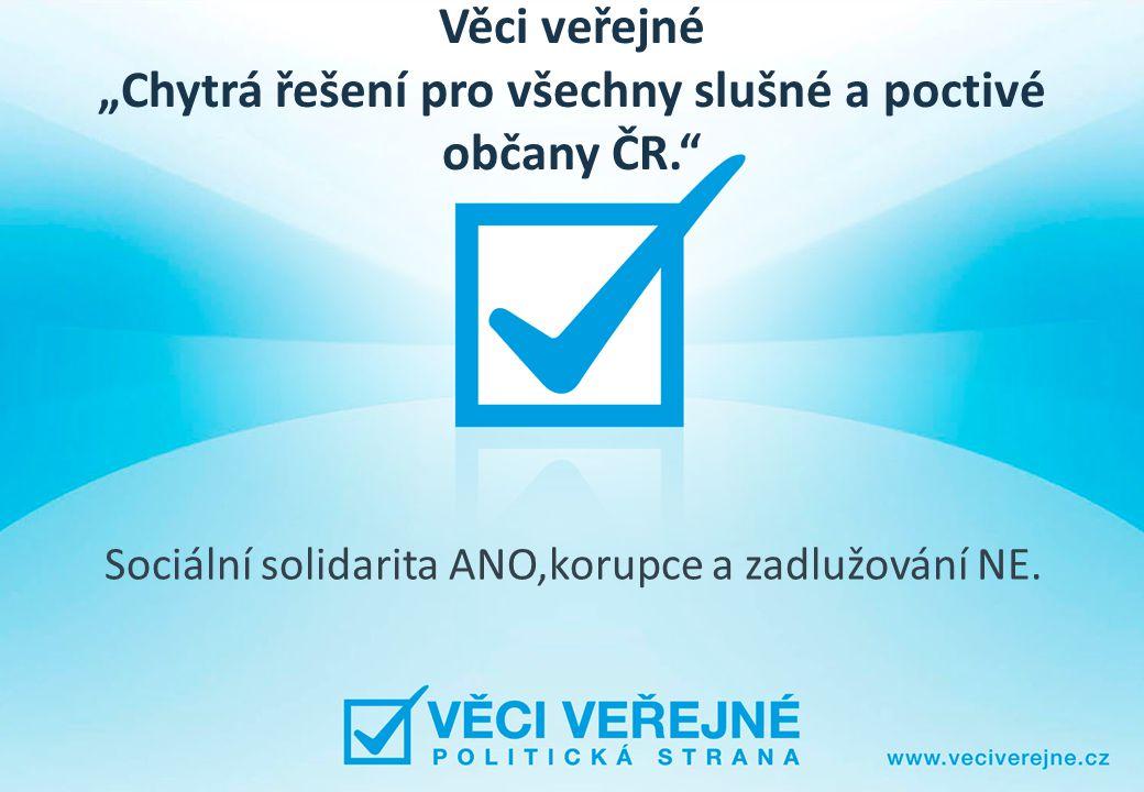 """Věci veřejné """"Chytrá řešení pro všechny slušné a poctivé občany ČR. Sociální solidarita ANO,korupce a zadlužování NE."""