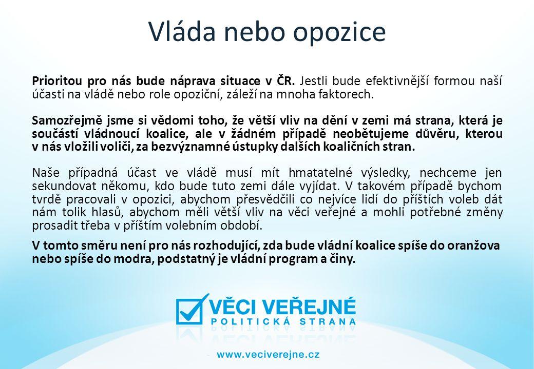 Vláda nebo opozice Prioritou pro nás bude náprava situace v ČR.