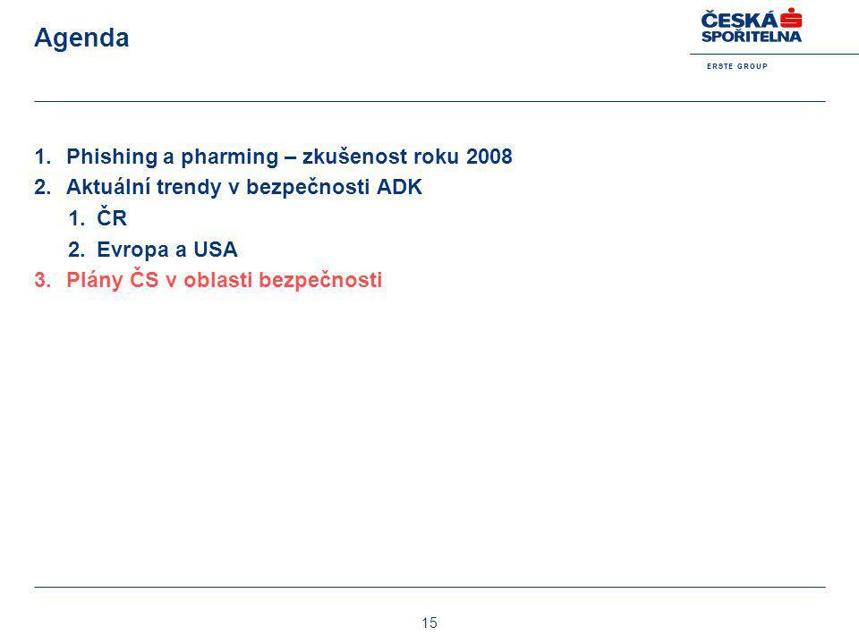 E R S T E G R O U P 15 Agenda 1.Phishing a pharming – zkušenost roku 2008 2.Aktuální trendy v bezpečnosti ADK 1.ČR 2.Evropa a USA 3.Plány ČS v oblasti