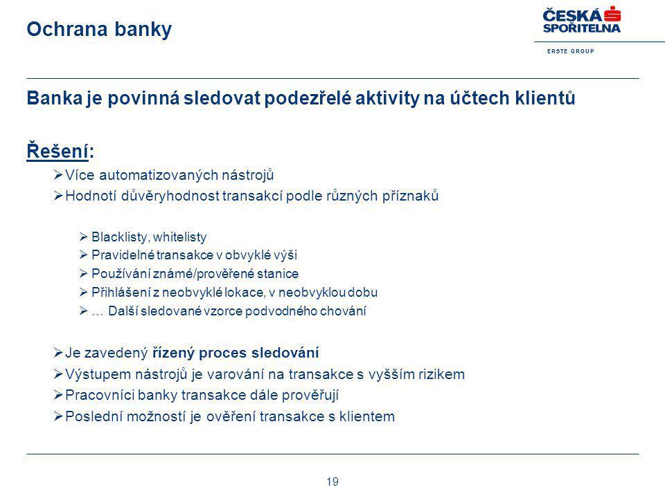 E R S T E G R O U P 19 Ochrana banky Banka je povinná sledovat podezřelé aktivity na účtech klientů Řešení:  Více automatizovaných nástrojů  Hodnotí