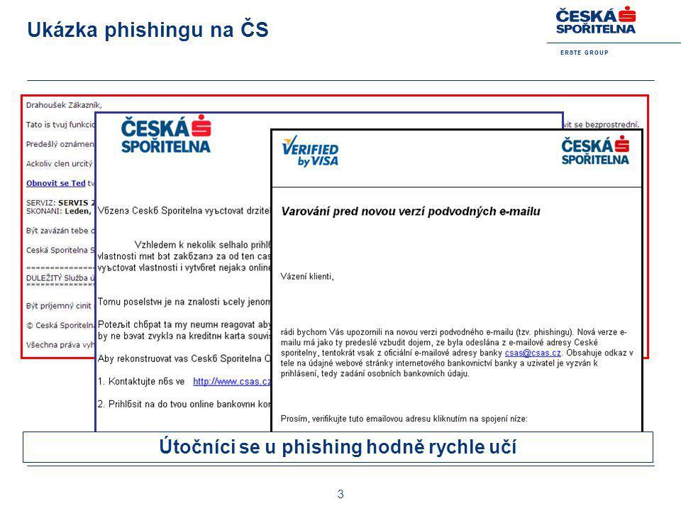 E R S T E G R O U P 3 Ukázka phishingu na ČS Útočníci se u phishing hodně rychle učí