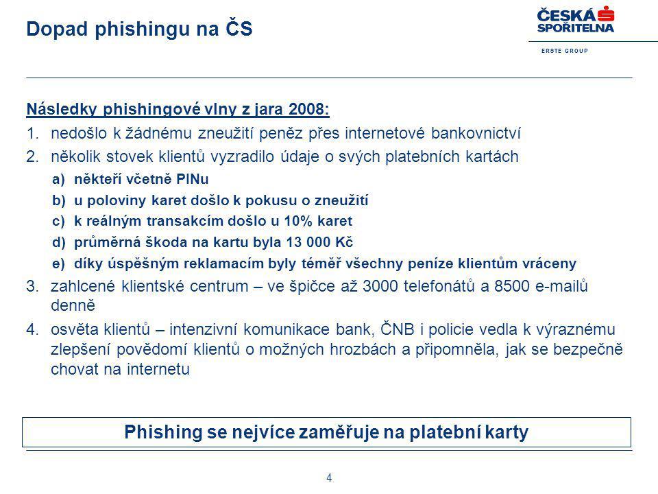 E R S T E G R O U P 4 Dopad phishingu na ČS Následky phishingové vlny z jara 2008: 1.nedošlo k žádnému zneužití peněz přes internetové bankovnictví 2.