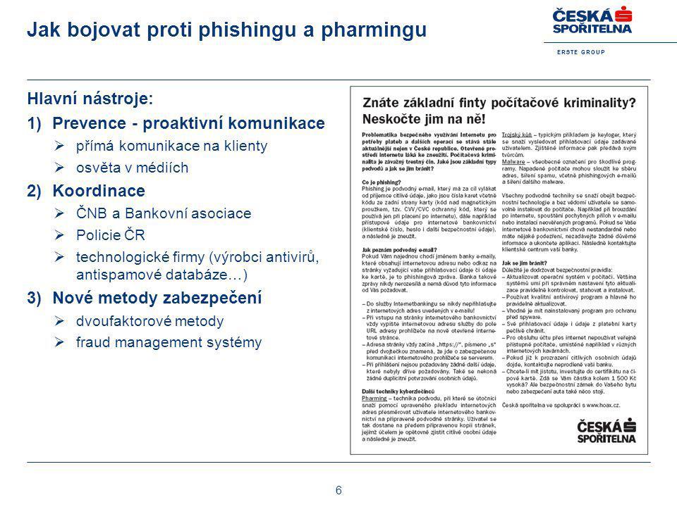 E R S T E G R O U P 6 Jak bojovat proti phishingu a pharmingu Hlavní nástroje: 1)Prevence - proaktivní komunikace  přímá komunikace na klienty  osvě