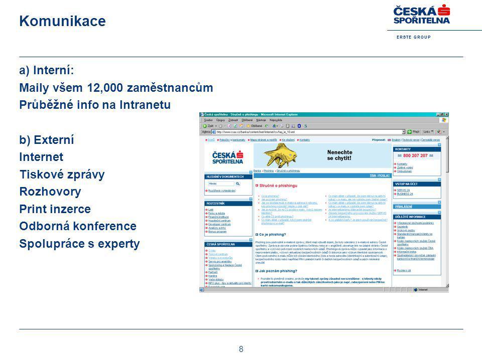E R S T E G R O U P 8 Komunikace a) Interní: Maily všem 12,000 zaměstnancům Průběžné info na Intranetu b) Externí Internet Tiskové zprávy Rozhovory Pr