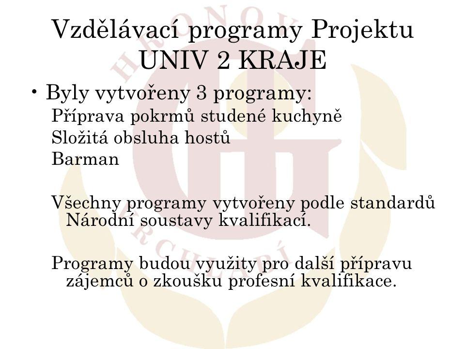 Vzdělávací programy Projektu UNIV 2 KRAJE Byly vytvořeny 3 programy: Příprava pokrmů studené kuchyně Složitá obsluha hostů Barman Všechny programy vyt