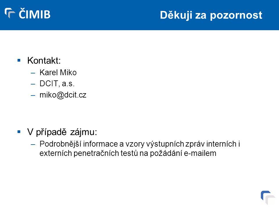 Děkuji za pozornost  Kontakt: –Karel Miko –DCIT, a.s.