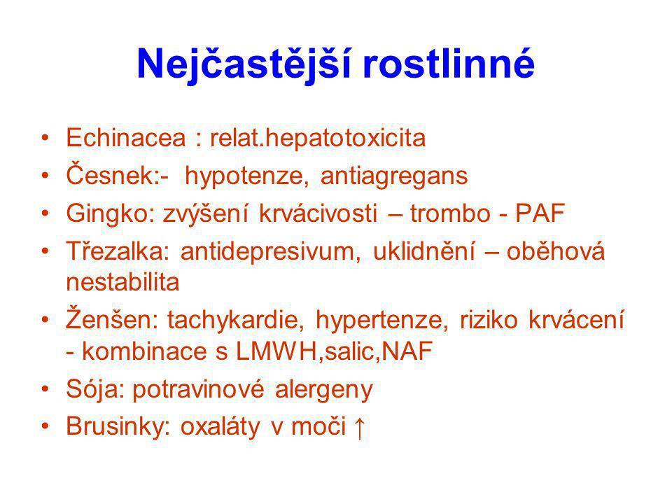 Nejčastější rostlinné Echinacea : relat.hepatotoxicita Česnek:- hypotenze, antiagregans Gingko: zvýšení krvácivosti – trombo - PAF Třezalka: antidepre