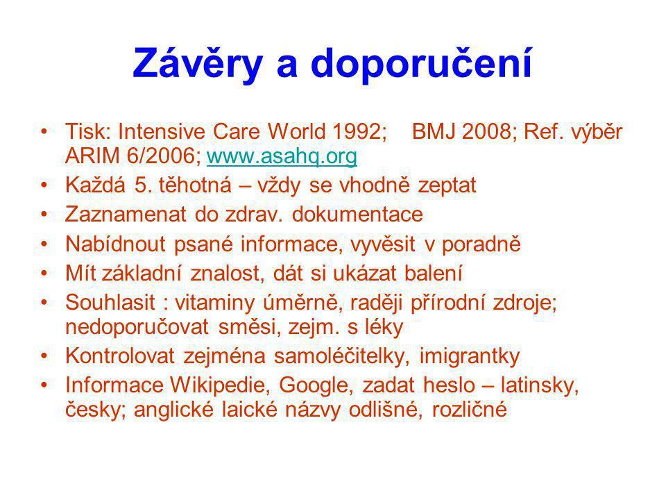 Závěry a doporučení Tisk: Intensive Care World 1992; BMJ 2008; Ref. výběr ARIM 6/2006; www.asahq.orgwww.asahq.org Každá 5. těhotná – vždy se vhodně ze