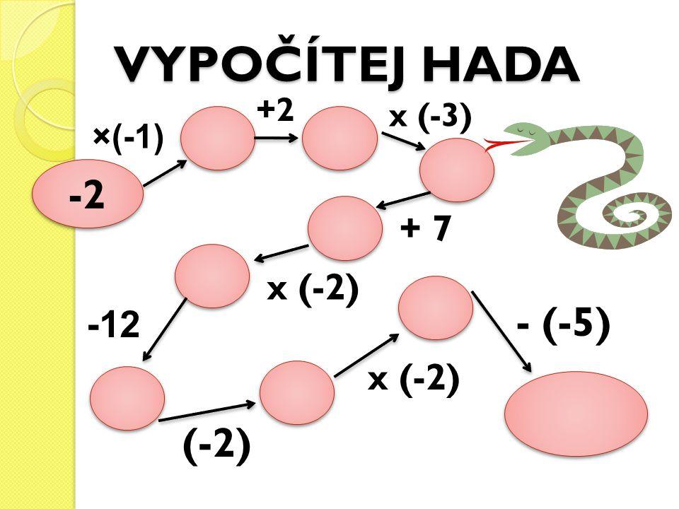 VYPOČÍTEJ HADA -2 ×(-1) +2 x (-3) + 7 x (-2) -12 (-2) x (-2) - (-5)