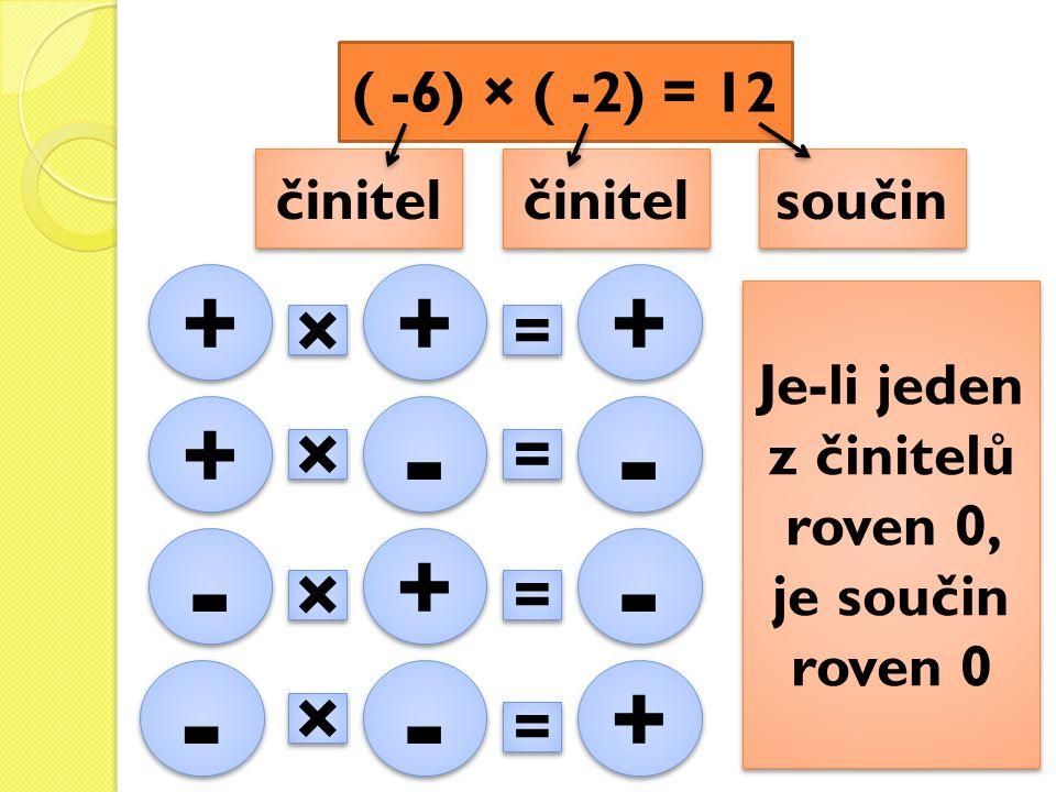 ( -6) × ( -2) = 12 činitel součin + + + + + + × × = = + + - - - - × × = = - - × × + + = = - - - - × × - - = = + + Je-li jeden z činitelů roven 0, je s
