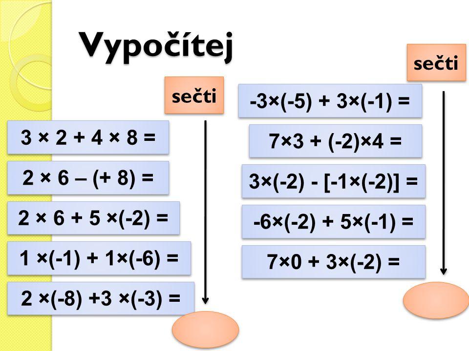 Vypočítej 3 × 2 + 4 × 8 = 2 × 6 – (+ 8) = 2 × 6 + 5 ×(-2) = 1 ×(-1) + 1×(-6) = 2 ×(-8) +3 ×(-3) = -3×(-5) + 3×(-1) = 7×3 + (-2)×4 = 3×(-2) - [-1×(-2)]