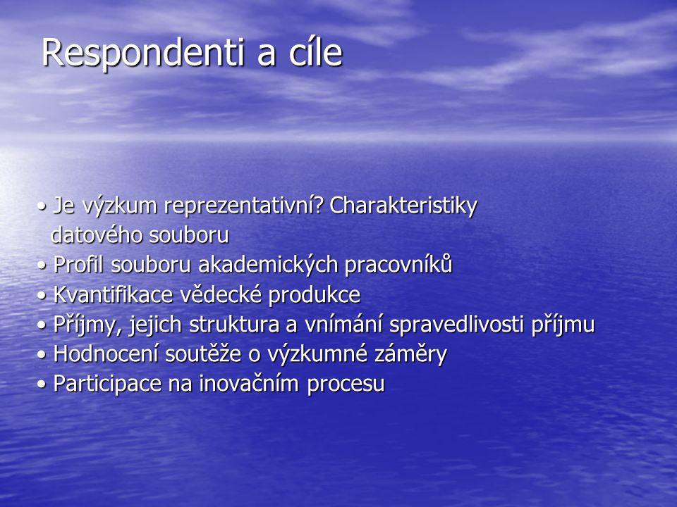 Respondenti a cíle Je výzkum reprezentativní. Charakteristiky Je výzkum reprezentativní.