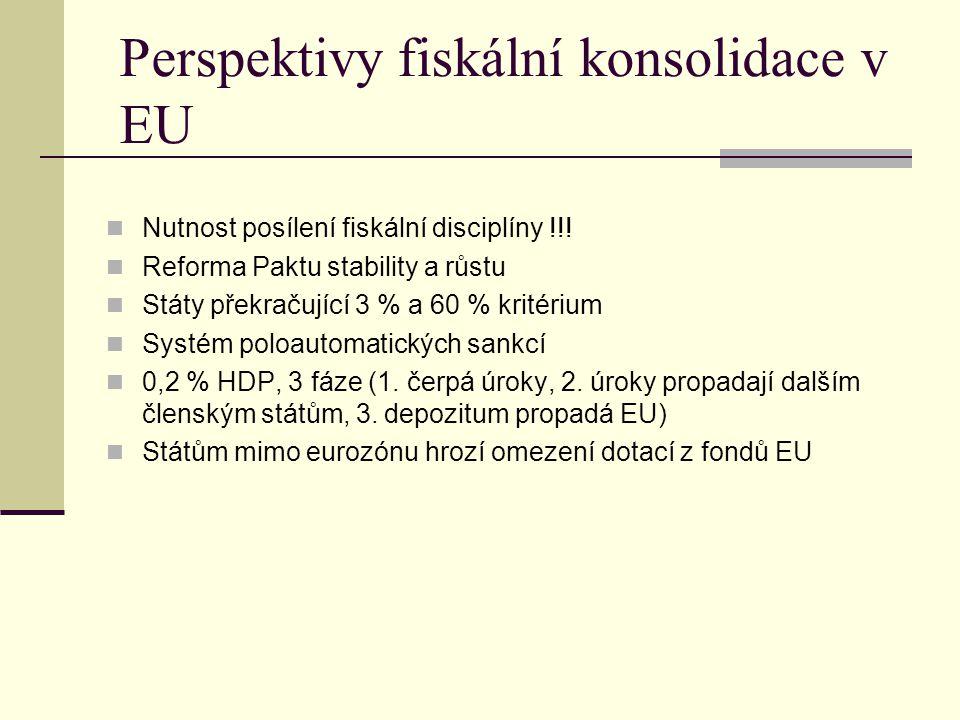 Perspektivy fiskální konsolidace v EU Nutnost posílení fiskální disciplíny !!.