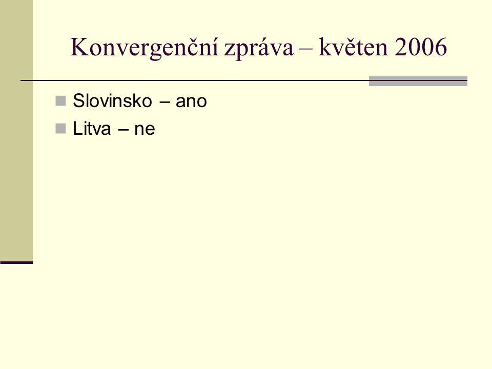 Konvergenční zpráva – květen 2006 Slovinsko – ano Litva – ne