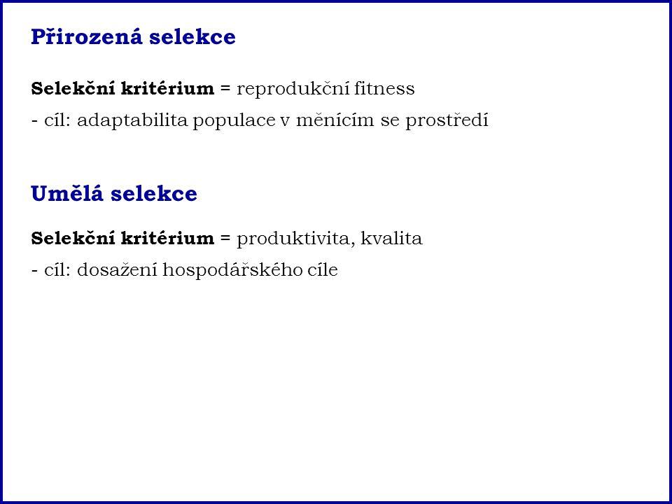 Přirozená selekce Selekční kritérium = reprodukční fitness - cíl: adaptabilita populace v měnícím se prostředí Umělá selekce Selekční kritérium = prod