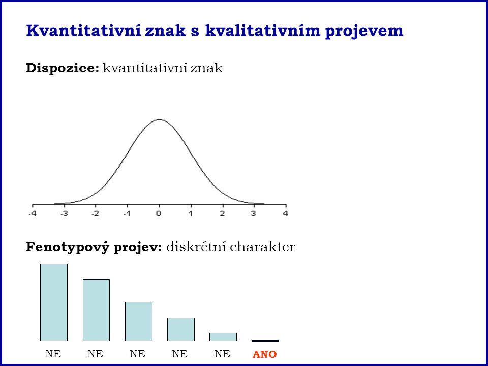 Kvantitativní znak s kvalitativním projevem Dispozice: kvantitativní znak Fenotypový projev: diskrétní charakter NE ANO