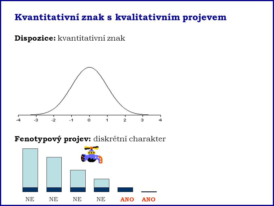 NE ANO Kvantitativní znak s kvalitativním projevem Dispozice: kvantitativní znak Fenotypový projev: diskrétní charakter