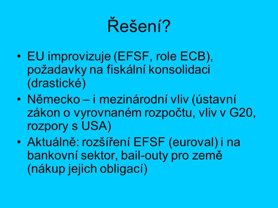 Řešení? EU improvizuje (EFSF, role ECB), požadavky na fiskální konsolidaci (drastické) Německo – i mezinárodní vliv (ústavní zákon o vyrovnaném rozpoč